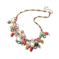 Funky hand made multi coloured glass beads with metallic and glass charms. Medium length. Please note - as each piece is handmade each piece is individual. Expect subtle differences in shape and colour  $34.99 - FREE Delivery in Aus