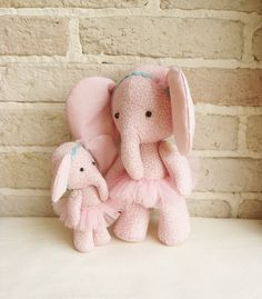 Ballerina Elephant Soft Fabric Toy Mom With by sistersdreams on Etsy