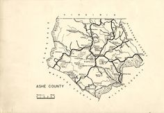 Ashe County (NC) Map, circa 1940, by the Federal Writers Project.  From the collections of the State Archives of North Carolina, presented on North Carolina Maps at UNC-Chapel Hill  http://dc.lib.unc.edu/cdm/ref/collection/ncmaps/id/3091