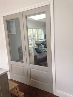 Make a pocket door like this and put photographs over glass panes my glazed double doors painted hardwick white by farrow and ball planetlyrics Images