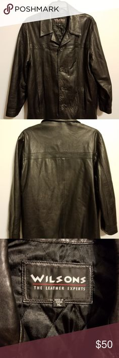 Men Wilsons Leather Coat black leather coat excellent condition men size XL  Wilsons Leather Jackets   6336da40521f