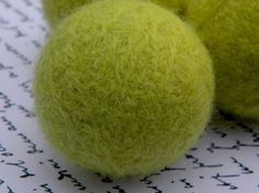 Wool Dryer Balls Eco Friendly Limey Green 3pk by littlestgiftshop, $14.00  ...and you were just throwing them away...