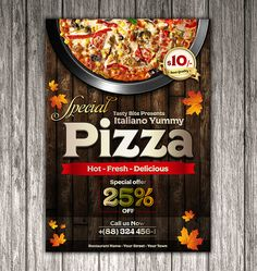 Here is enclosed vintage pizza flyer template design that you can imply in your projects. Pizza Flyer, Menu Flyer, Graphic Design Flyer, Food Poster Design, Restaurant Flyer, Restaurant Names, Creative Flyers, Creative Food, Pizza Menu Design