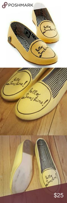"""Cute Modcloth yellow slip on flats.  Size 7 shoe. Modcloth """"hello sunshine"""" yellow slip on flats. Sise 7. Slight ware. Has very small markings on it but it can easily be cleaned up. Besides that its in great condition and only worn 2x.   Make me an offer! Bundles welcomed! Happy poshing! XO ModCloth Shoes Flats & Loafers"""