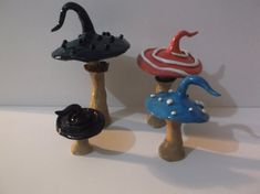Whimsical Alice in Wonderland Inspired Toadstools, Set of 4 Mushrooms, Handcrafted,