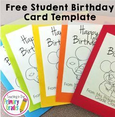 When a student in my class has a birthday, I leave a birthday card by my attendance sticks so each of their classmates can sign the birthday card as they arrive for the day. Visit the blog post for a free template to make birthday cards for your class.