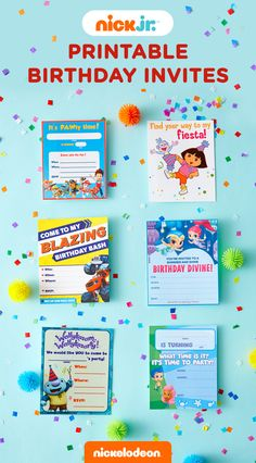 These printable birthday party invitations are the perfect way to kick off your preschooler's Nick Jr. birthday party. The invites feature PAW Patrol, Blaze and the Monster Machines, SpongeBob Squarepants, Bubble Guppies, Wallykazam!, Peter Rabbit, and Dora and Friends.