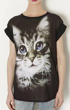 f8798d7d3b Digital Cat Printing Short Sleeves Casual T-shirt Ideias