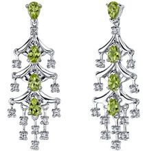 $49.99 4 cts Pear Cut Peridot Sterling Silver Earrings SE7188