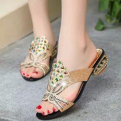 Women Summer Beach Sandals Rhinestone Slip On Sandals Platform Sandals - US$16.72