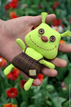 Купить Огрик Фелиции - салатовый, прикольный, игрушка для детей, смешной, мультяшка, фетр, американский хлопок