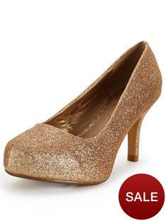 So Fabulous Cora Extra Wide Fit Glitter Court Shoes - Gold