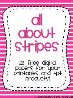 #freebie This set contains 12 pages of striped digital papers. All are secure in PNG format. Perfect for jazzing up printables or creating your own products on TPT!  Enjoy!