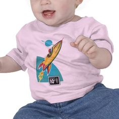 Space Rocket Ride T Shirts - in pink and blue