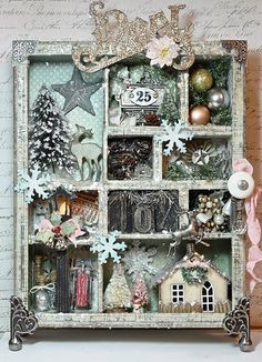 Fun idea for an old display box. Themes other than Christmas too.