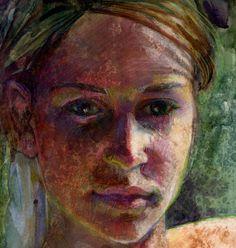 Original Art Monotype Printmaking Young Girls Face by bdelpesco