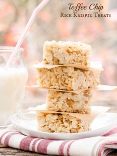 Toffee Chip Rice Krispie Treats are a delightful twist to a classic treat. Only 4 ingredients and a few minutes are needed to make this easy recipe.