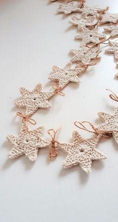 Crochet Diy, Crochet Bunting, Crochet Garland, Crochet Stars, Crochet Decoration, Crochet Home, Crochet Gifts, Crochet Motif, Crochet Designs
