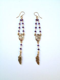 Amethyst and feather rosary earrings by CrossStJewelry on Etsy, $28.00