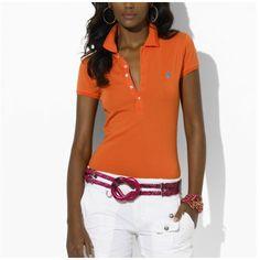 Ralph Lauren Mesh Women Featured Notch Short Sleeved Polo Orange $34.35
