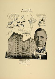 1923 Print Eric E. Hall Architect Chicago Hotel Reltig - ORIGINAL CP1 Free Black, Black And White, Chicago Hotels, Character Sketches, Cartoon Styles, Family History, Digital Prints, Humor, The Originals