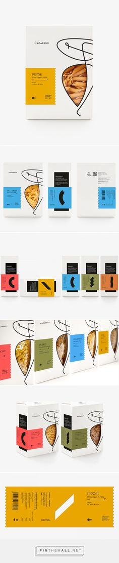 Macareux pasta packaging design by Luminous Design Group - http://www.packagingoftheworld.com/2016/11/macareux.html