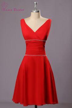 Кама свадебные красного шифона платья возвращения на родину очаровательная V шея…