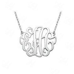 8a0c1d05a30f1 Barato Monograma nome personalizado colar prateado pingente colar de colar  as mulheres melhor presente amigos bijuterias