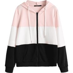 Drawstring Zip Up Color Block Hoodie ($30) ❤ liked on Polyvore featuring tops, hoodies, color-block hoodie, zip up drawstring hoodie, color block tops, sweatshirt hoodies and drawstring top