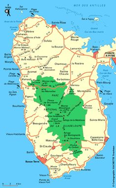 Carte Guadeloupe ouest / Plan Guadeloupe ouest