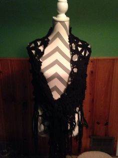 Black 100 % Cotton Flower of Life Shawl by CraftyCrochet4Today