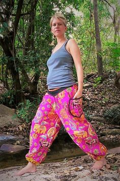 3a44cd38a00cd Hippie Joggers Pink, Harem pants Pink, Amonchai, Cotton, Pink with Elephant  Design and Tribe Waistband