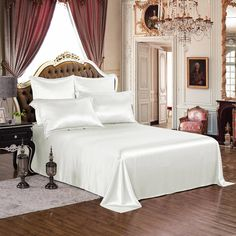 Silk Bed Sheets, Silk Bedding, Flat Sheets, Spalding Gray, Ivory White, Queen Size