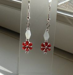 Red White Short Handmade Dangle Earrings Red & by AnotherOriginal