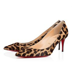 """""""Decollete 554"""" stands out for her long pointed toe and superfine stiletto heel. Whether you're dashing off to a daytime meeting or evening date, this 70mm version in ultra chic pony leopard provides a strong and sexy look for the woman on the move."""