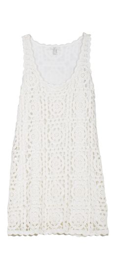 JOIE Elida Crochet Dress Porcelain | Crochet Tank Dress