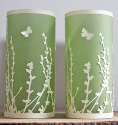 paper-lanterns-butterflies Diana in London of Green Caligo layers cut paper over translucent vellum to create pretty summer meadow luminaries.