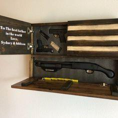 Hidden Gun Storage Dual Compartment Black and White Small American Flag Hidden Gun Storage, Ammo Storage, Secret Storage, Diy Storage, Storage Spaces, Storage Ideas, Hidden Gun Rooms, Small American Flags, Wooden American Flag