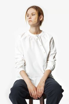 Asymmetrical Front Buttoned Organic White Shirt