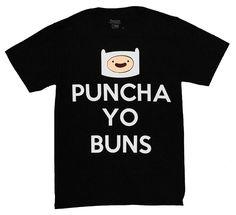 Adventure Time Finn Punch-A Yo Buns Men's T-Shirt, Black, XXX-Large