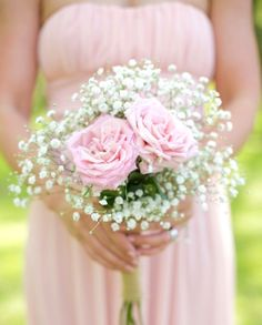 Diy Rose And Baby S Breath Bouquet Bridesmaids Flowers
