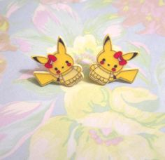 Pikachu Earrings, Hello Kitty Earrings, Hello Kitty Pikachu, Pokemon Jewelry, Hello Kitty Ear Plugs, Post Earrings, Fashion Jewelry,SMALL
