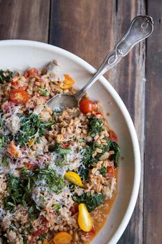 Farro with Tomatoes, Sausage and Kale
