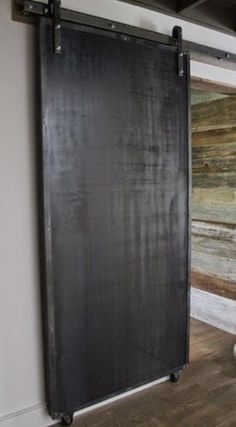Sliding Doors: Reclaimed Wood & Raw Steel modern interior doors (would love to paint one side with chalkboard paint ie the side that faces the kitchen. k) - March 16 2019 at Cavity Sliding Doors, Sliding Pantry Doors, Modern Sliding Doors, Sliding Door Systems, Sliding Barn Door Hardware, Sliding Glass Door, Closet Doors, Internal Doors, Window Hardware