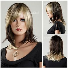 Medium Long Wig for Women Gradient Wig Straight Wig Natural Synthetic Wig Side Bangs Hairstyles, Straight Hairstyles, Cool Hairstyles, Medium Hairstyles, Hairdos, Mid Length Blonde Hair, Shoulder Length Straight Hair, Beauty Hair Extensions, Natural Looking Wigs