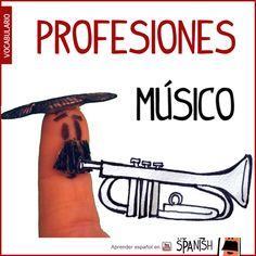 El músico / La músico --- Profesiones en español, vocabulario español incial- intermedio