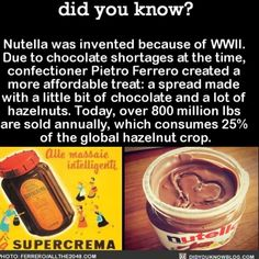 Nutella is life!  #nutella #food #yum #chocolate   Share the helpful knowledge! Tag your friends in the comments.  We wrote a book with over 50 original fact illustrations!  Buy it on Amazon today!  http://amzn.to/2gzSCrU  We post different content on all our different social media channels. Follow all our accounts so you don\'t miss out! http://ift.tt/1FVnDRT http://ift.tt/14BKkrR http://twitter.com/didyouknowfacts http://fact-snacks.com  #DYN #FACTS #TRIVIA #TIL #DIDYOUKNOW #NOWIKNOW