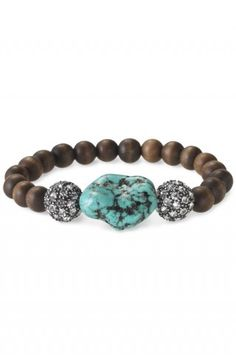 turquoise nugget with crystal pave balls and wooden beads