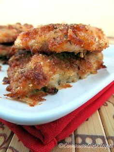 Oven Fried Parmesan Crusted Chicken.