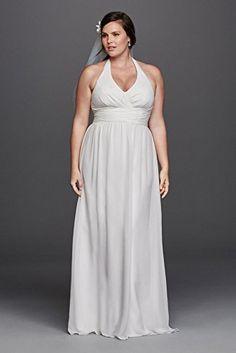 Chiffon Sheath Halter Plus Size Wedding Dress Style 9SDWG0394  http://www.effyourbeautystandarts.com/chiffon-sheath-halter-plus-size-wedding-dress-style-9sdwg0394/